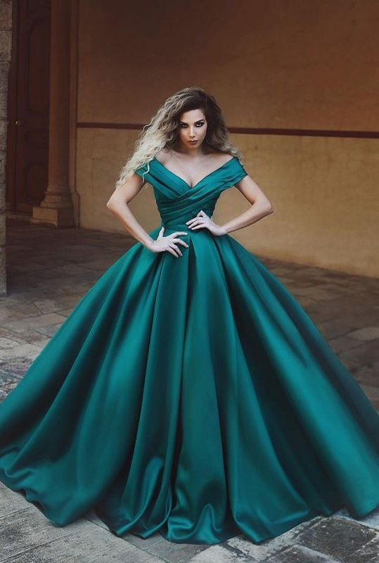 2020 Decent Green Off-The-Shoulder Ball Gown Evening Gown | Modest V Neck Sleeveless Prom Dress On Sale