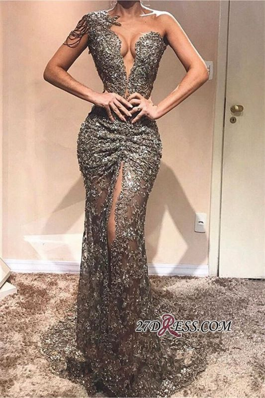 Sexy Front Slit Sleeveless Prom Dresses | Cheap Sequins One-Shoulder Mermaid Party Dresses
