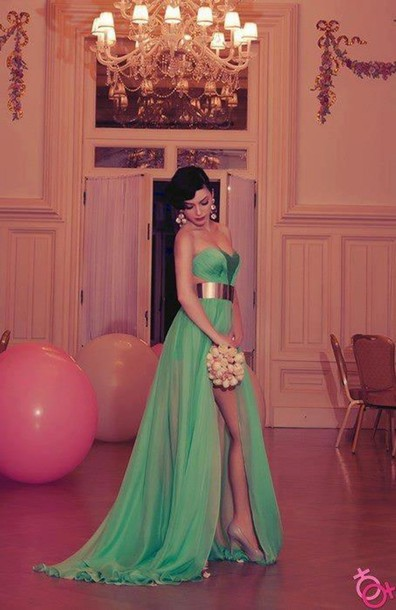 Sexy Green Long Prom Dress 2020 Sweetheart Slit Chiffon Evening Party Gowns
