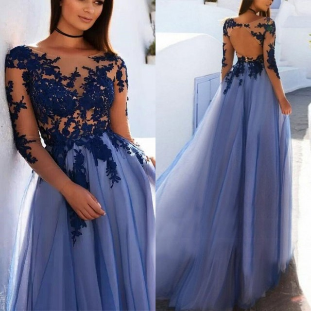 Elegant Long Sleeve Prom Dress With Lace Appliques | 2020 Tulle Long Evening Gown