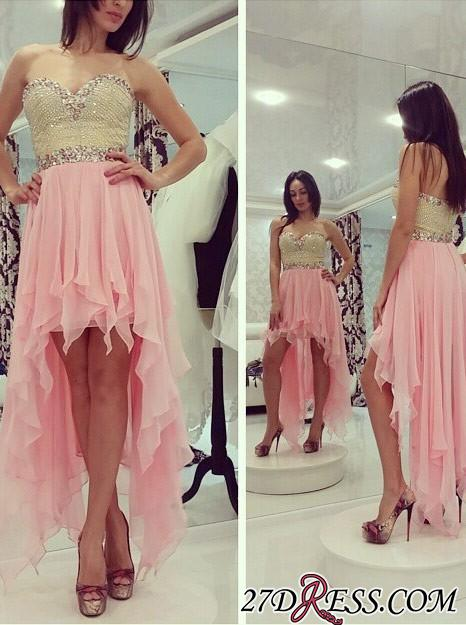 2020 Hi-Lo Chiffon Sleeveless Sweetheart Newest Crystals A-line Prom Dress