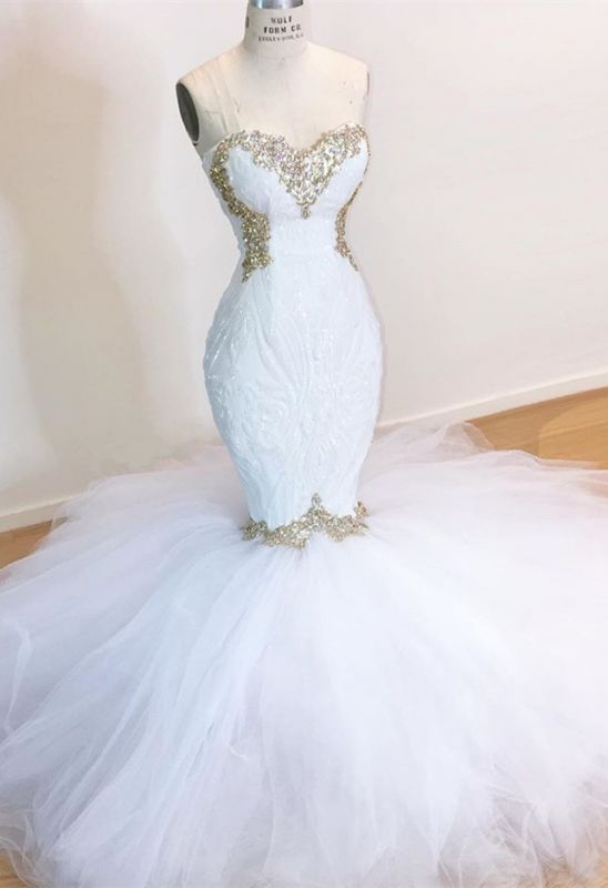 Stunning Sweetheart White Wedding Dresses   2020 Mermaid Tulle Bridla Gowns With Beads