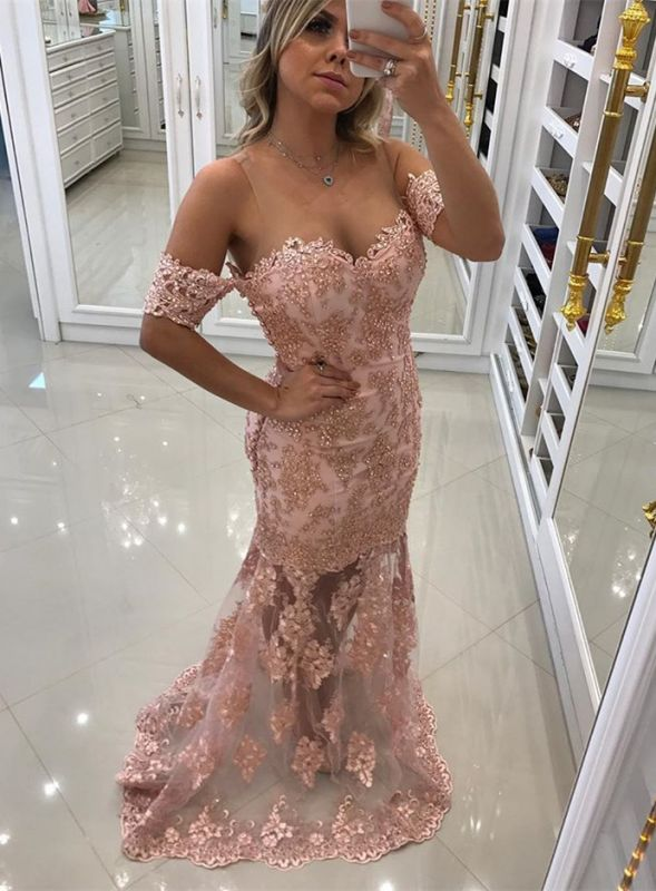 Modest Off-the-shoulder Lace Belt Evening Dress | Mermaid Party Gown BC0495