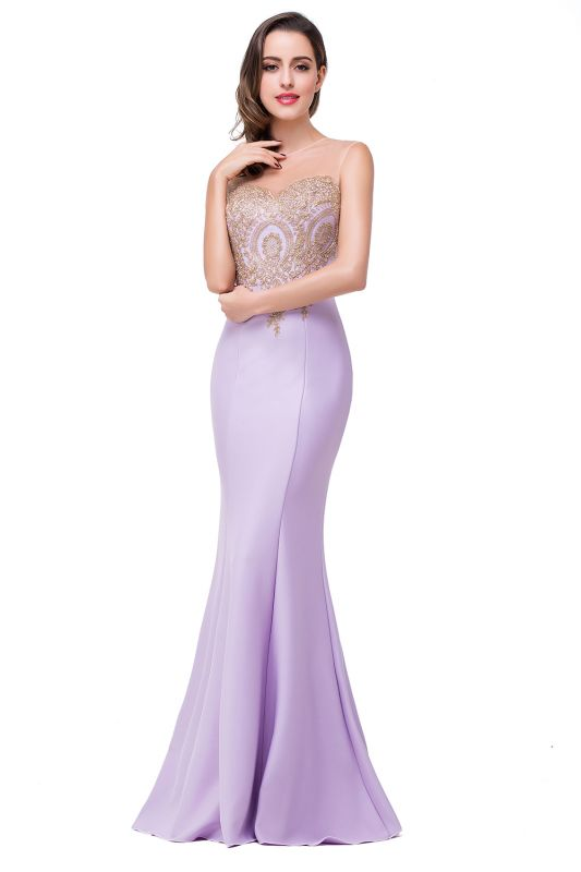 Sexy Illusion Appliques Mermaid 2020 Prom Dress Zipper Floor-length