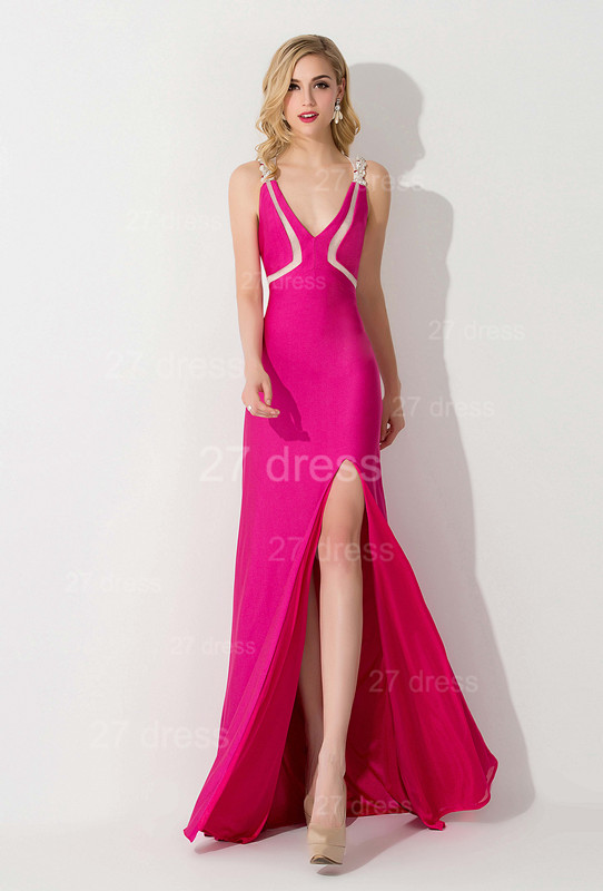 Sexy Front Split Bodycon Evening Dress Crystals Sweep Train