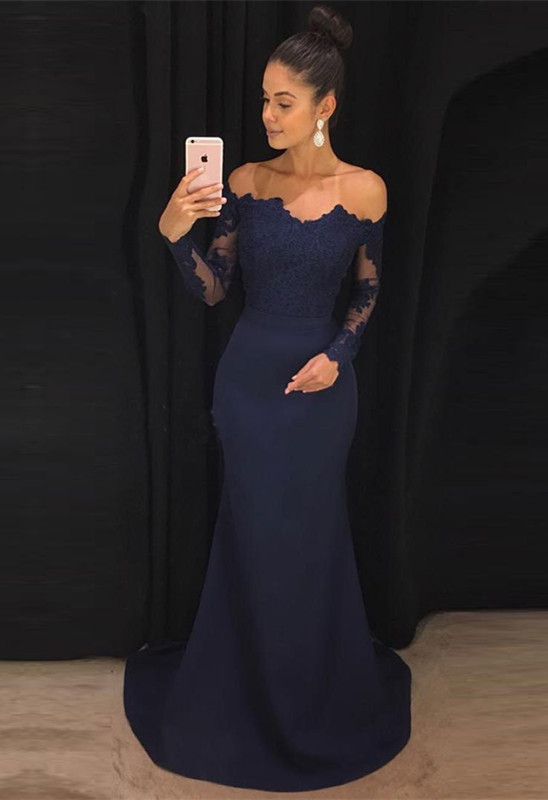 Navy Off-the-Shoulder Prom Dress | 2020 Lace Long Sleeve Evening Dress BA9443