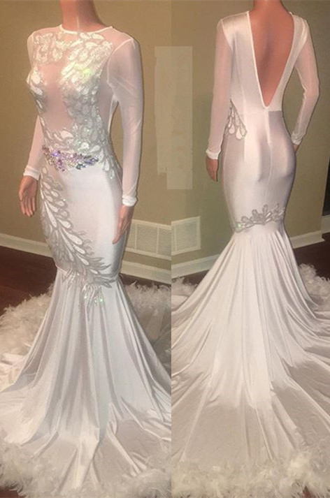 Glamorous Long Sleeve Prom Dresses | 2020 Mermaid Evening Gown With Appliques