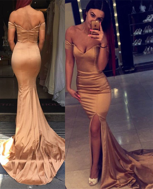 Sexy Off the Shoulder Mermaid Evening Dress 2020 Zipper Back Prom Gown
