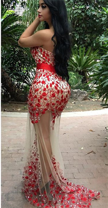Sexy Red Sweetheart 2020 Prom Dress Mermaid Crystal Party Gowns