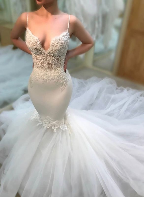 New Arrival Mermaid Spaghetti Strap Appliques Wedding Dress | White Sleeveless Backless Bridal Gown