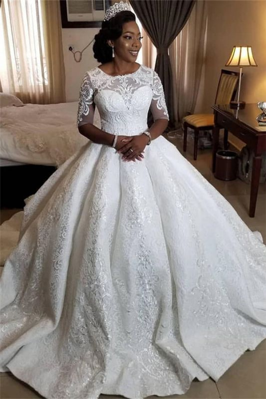 Gorgeous Lace Sheer Tulle Ball Gown Short Sleeve Appliques Bridal Gown
