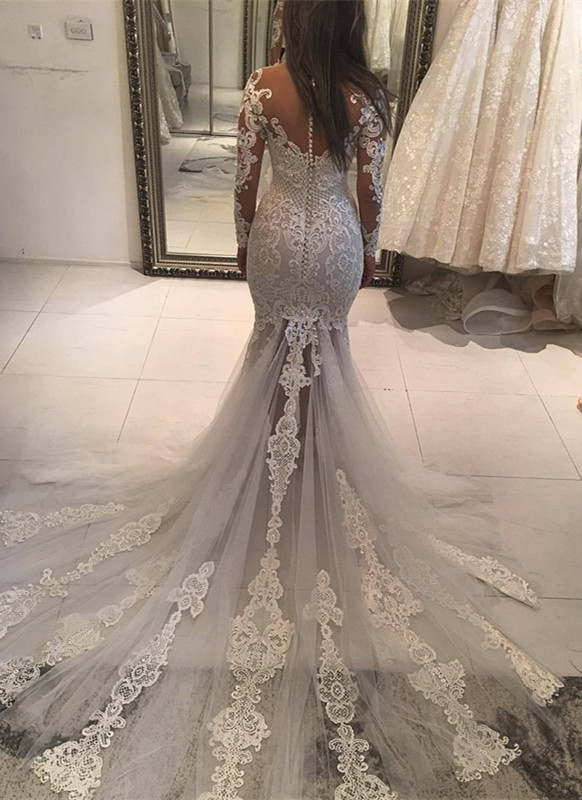 Long Sleeve Lace Wedding Dress | 2020 Mermaid Bridal Gowns On Sale