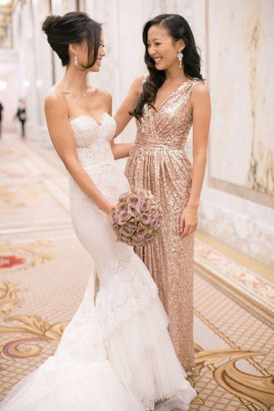 Glamorous V-neck Sleeveless Bridesmaid Dress Floor-longth With Sequins