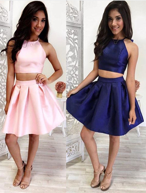 Lovely Halter Sleeveless 2020 Short Homecoming Dress Two Pieces BA4827
