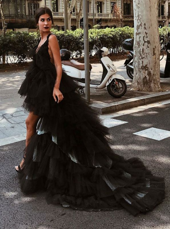 Sexy V-Neck Sleeveless Tulle 2020 Evening Gowns | Hi-Lo Black Layered Prom Dress On Sale