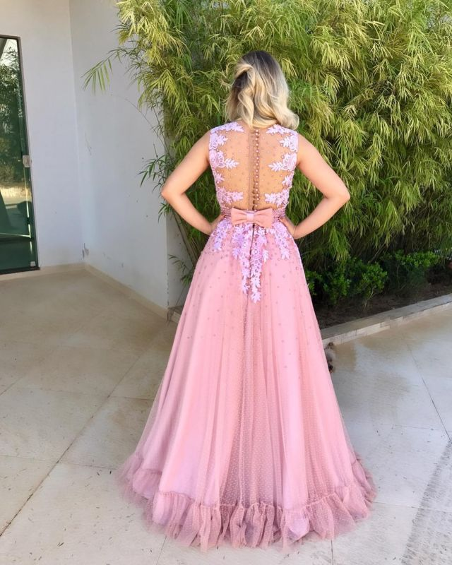 Pink 2020 evening dress, long lace prom gowns