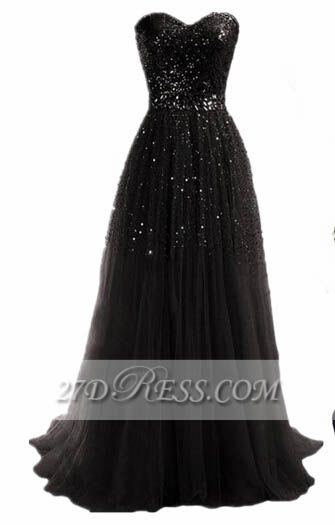 Black Sequined Sweetheart Prom Dress Sweep Train Simple Evening Gowns