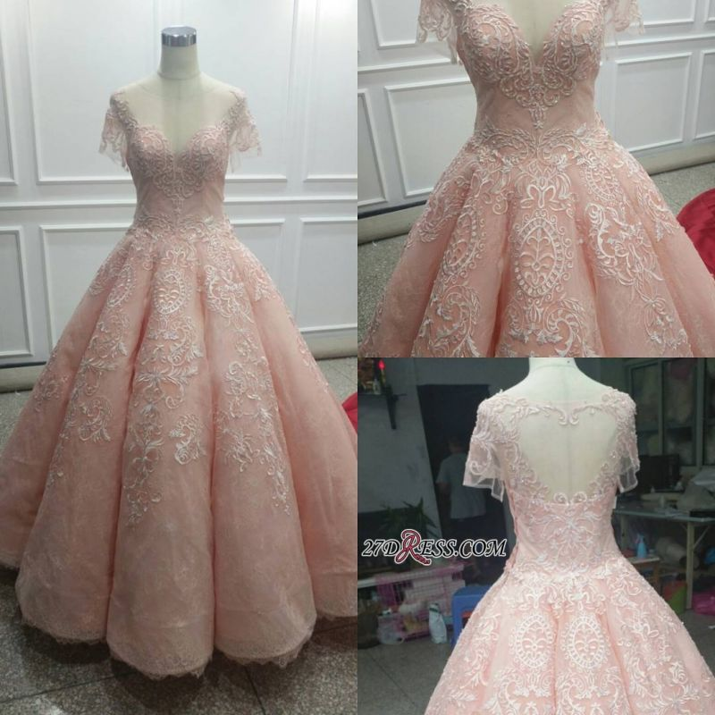 Fairy Ball-Gown Pink Short Sleeves 2020 Prom Dress Princess With Lace BC1621