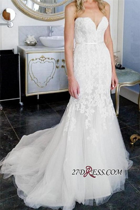2020 Lace Tulle Sheath Appliques Sweetheart Sleeveless Open-Back Front-Slit Wedding Dress
