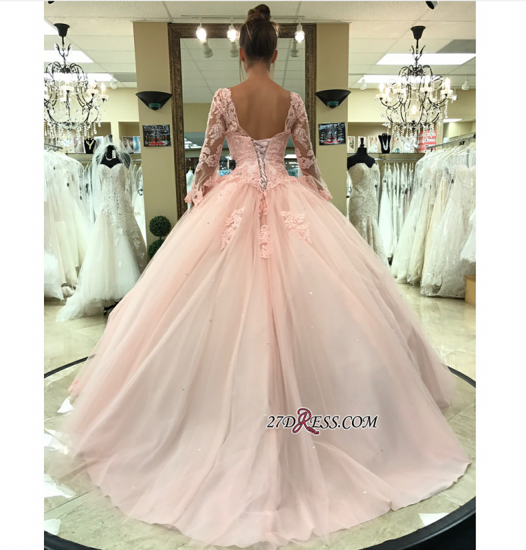 Long-Sleeve Pink Wedding Dress | Lace 2020 Ball-Gown Bridal Gowns