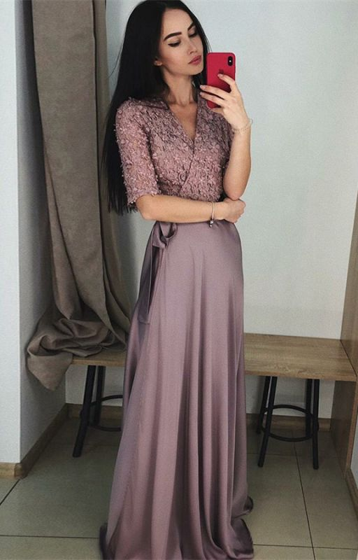 Stunning Hal-Sleeve Long Prom Dress | 2020 Lace Evening Gowns On Sale