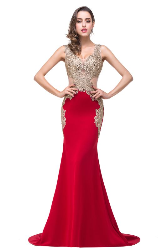 Delicate Mermaid Appliques Straps 2020 Prom Dress Sweep Train Sleeveless