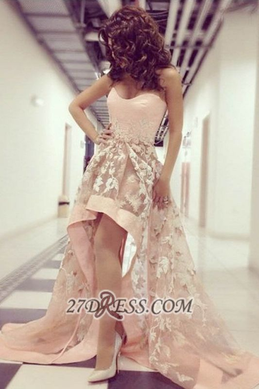 Sexy Sweetheart Sleeveless Hi-Lo Prom Dress With Lace Appliques