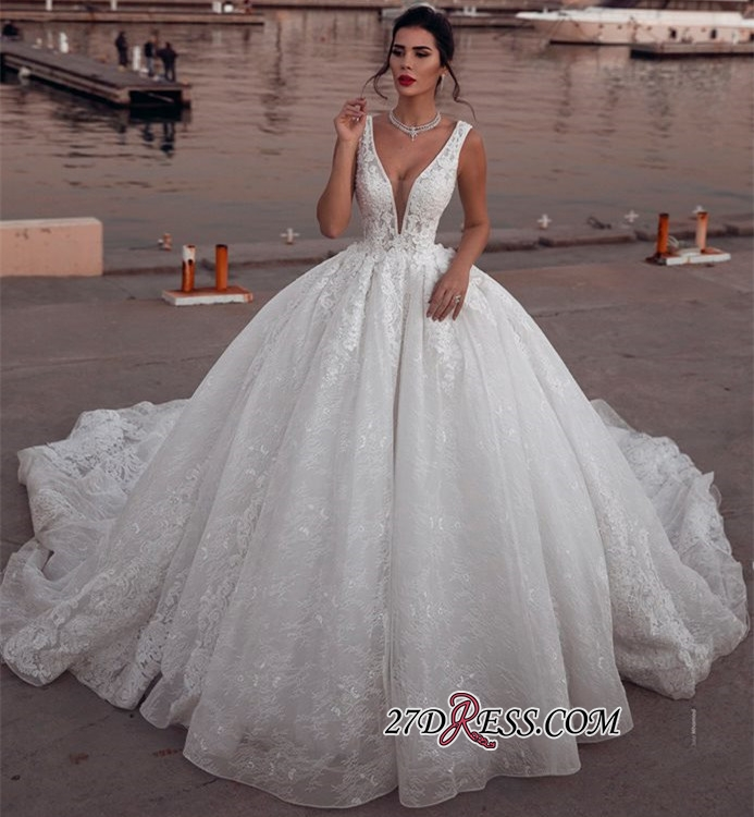 Glamorous Sleeveless V-Neck Wedding Dresses | Ball Gown Lace Sleeveless Bridal Gowns BC1995