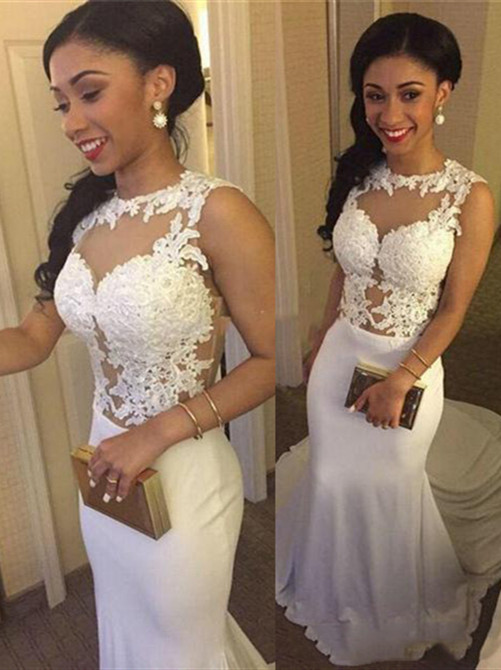 Simple White Crew Sleeveless Mermaid Prom Dress   2020 Lace Appliques Evening Gown On Sale BA3761
