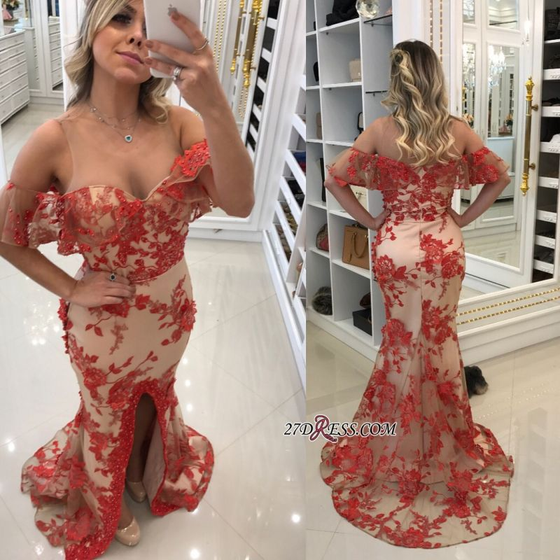 Off-the-Shoulder 2020 prom dress, lace evening gowns