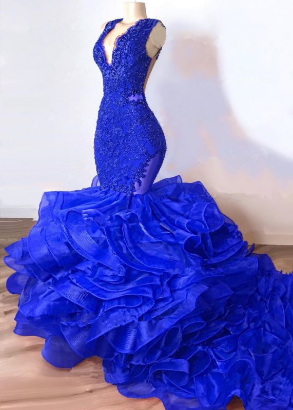 Gorgeous Royal Blue Mermaid Prom Dress | 2020 Lace Appliques Ruffles Evening Gowns BC1687