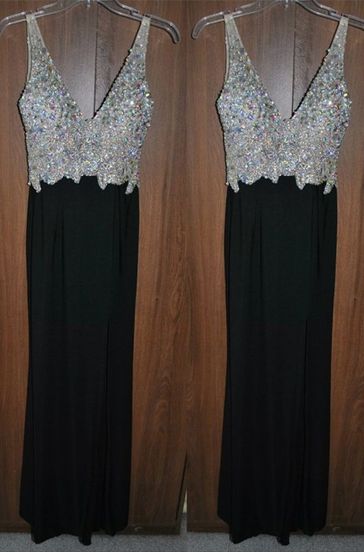 Newest Crystals A-line Straps Prom Dress 2020 Sleeveless Black