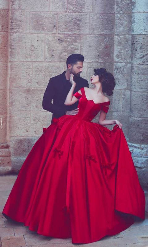 Newest Red Bowknot Ball Gown Evening Dress 2020 Off-the-shoulder Floor-length