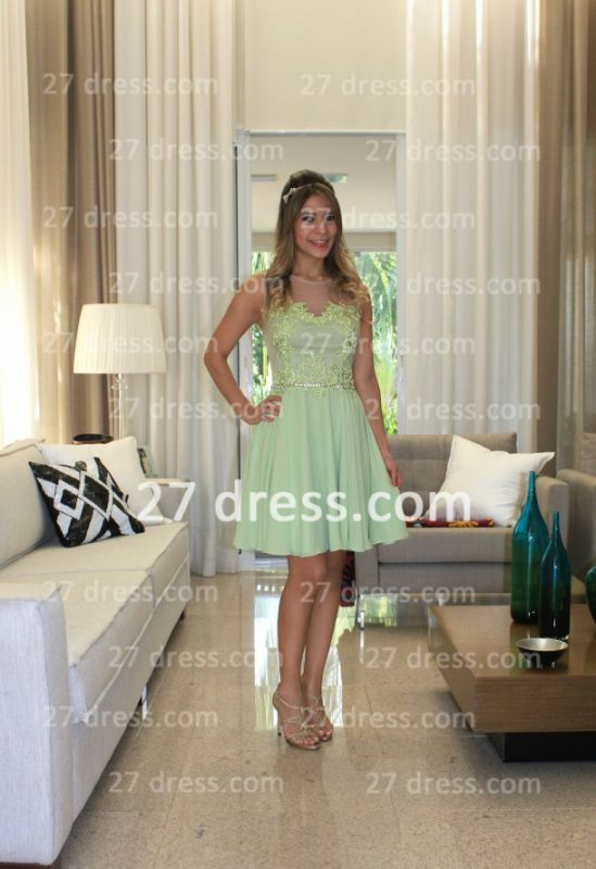 Vestidos Formales Short Lace Prom Dresses 2020 New Arrival Cocktail Gowns Elegant Nude Back Green De Fiesta