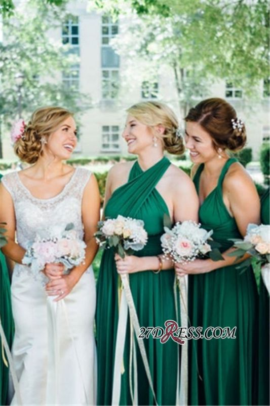 V-neck One-Shoulder Convertible Halter Junoesque A-line Bridesmaid Dresses