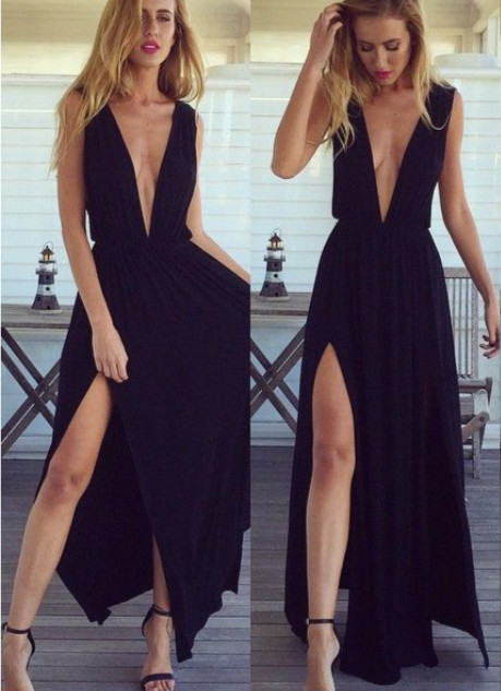 Sexy Black Long Chiffon Prom Dress V-Neck Party Gown