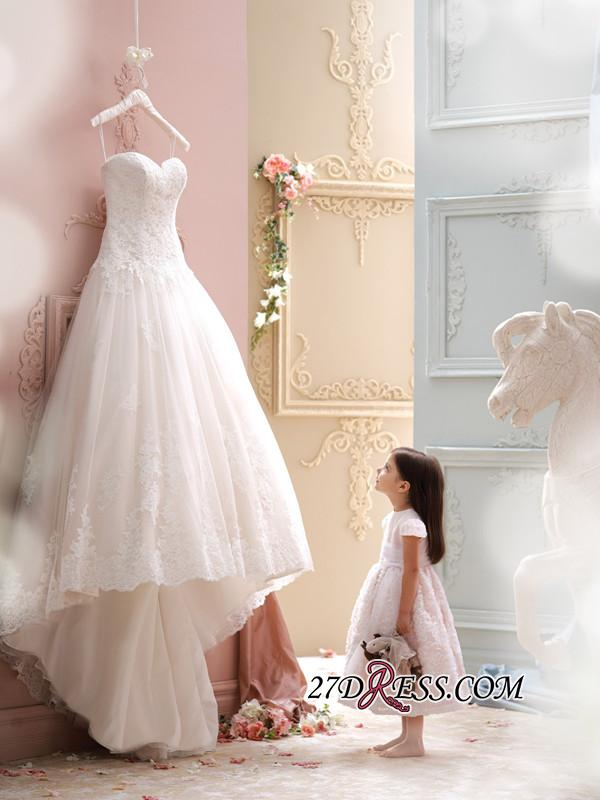 2020 Sweep-Train Sleeveless Lace Newest Tulle Spaghetti-Strap Wedding Dress