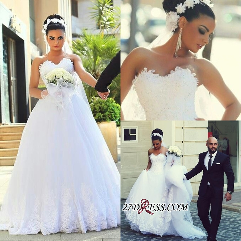 Newest Sweetheart Lace Sleeveless A-line Wedding Dress