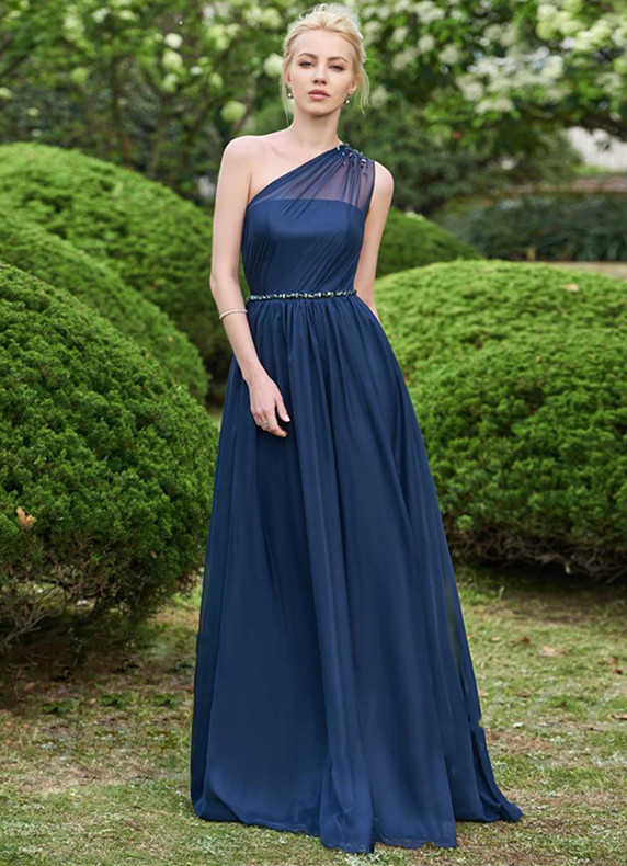 Gorgeous One Shoulder Navy Bridesmaid Dresses | 2020 Long Chiffon Prom Dress Online