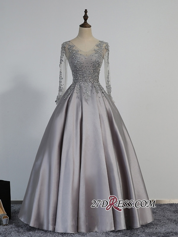 Modest Lace-Appliques Long-Sleeve Beading A-line Prom Dress