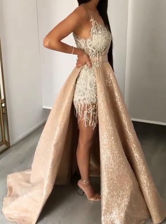 New Arrival Strapless Mermaid Appliques Evening Gown | Overskirt Tassels Sequins Prom Dress BC0980