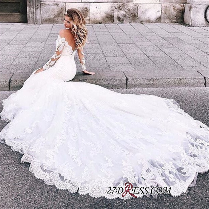 Exquisite Lace Mermaid Wedding Dresses | Off The Shoulder Long Sleeves Bridal Gowns