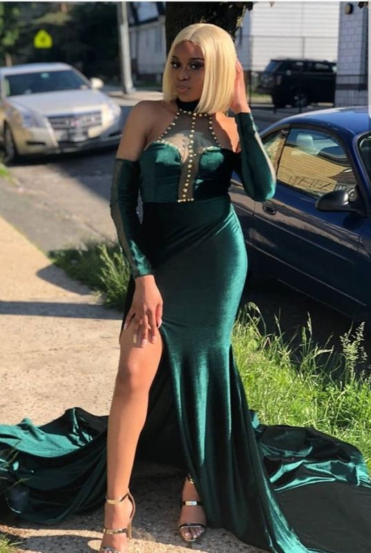 2020 Glamorous Halter Mermaid Evening Dress | Beading Front Split Green Prom Gown On Sale