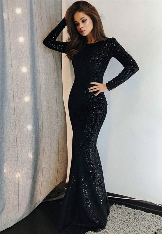 Sexy Black Sequins Prom Dresses | 2020 Long Sleeve Mermaid Evening Gowns BC0376