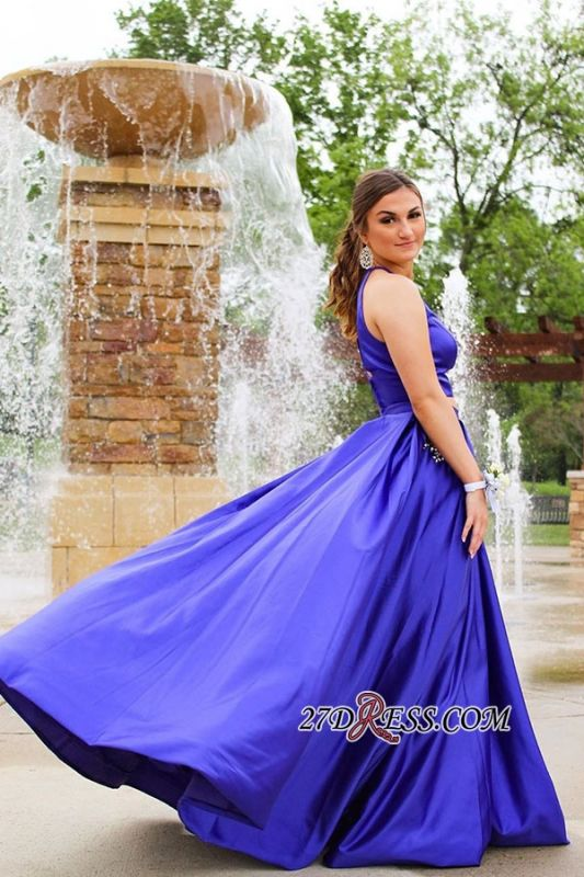 Long Halter Two-pieces Sexy A-line Prom Dresses