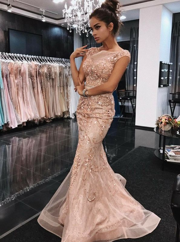 Charming Long Pink Beadings Mermaid Prom Dress | Crew Sequins Beadings 2020 Evening Gown