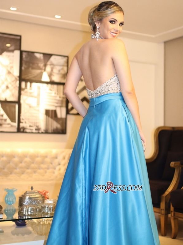 Blue backless prom dress, 2020 long evening gowns with beads