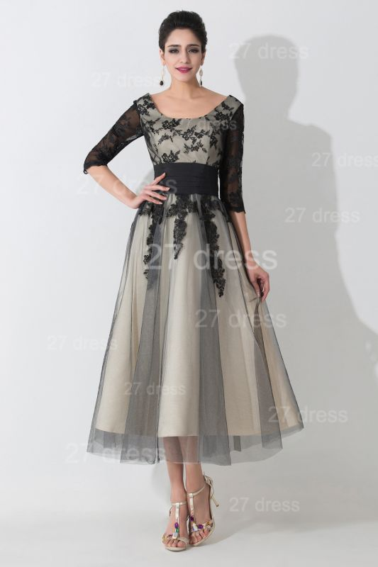 Newest Lace Appliques Tulle Evening Dress Half Sleeve