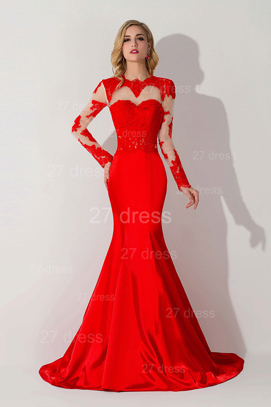 Sexy Red Mermaid Lace Appliques Evening Dress Long Sleeve