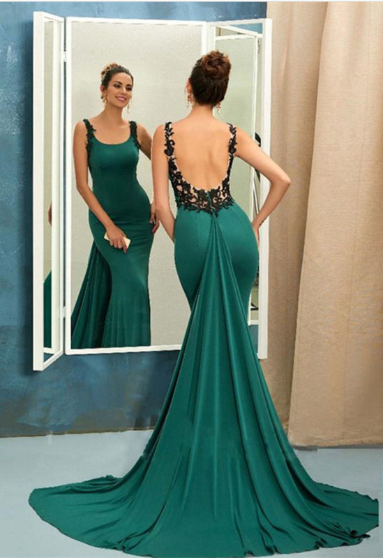 Scoop Green Evening Dress | 2020 Mermaid Ruffles Prom Dress